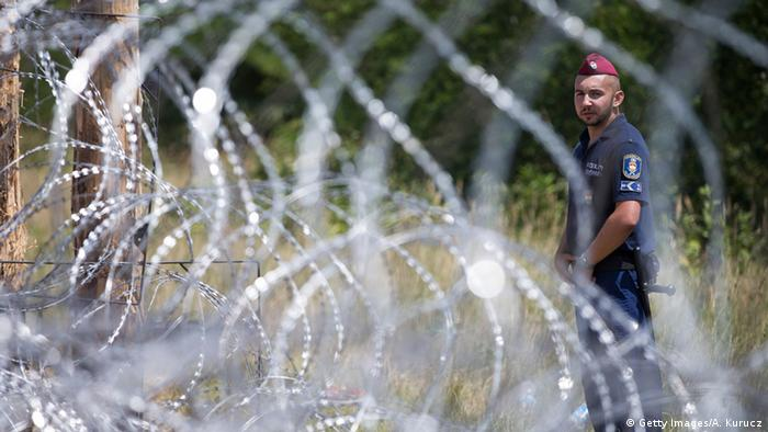 Fence at Hungarian border with Serbia