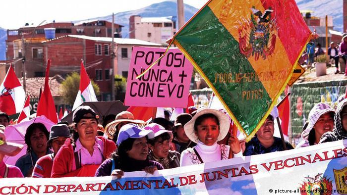 Manifestaciones mineras en Potosí.