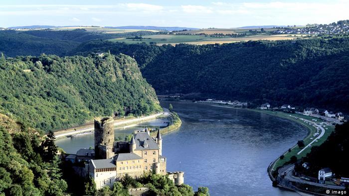 Katz Castle and the Lorelei along the Rhine river.
