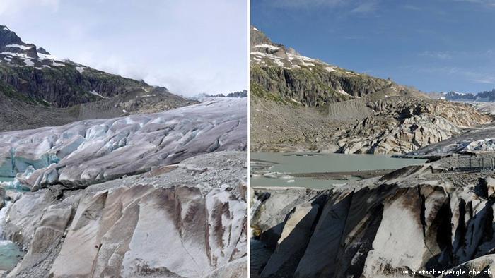 Schweiz Rhonegletscher 2007 und 2014 (Bildcombo)