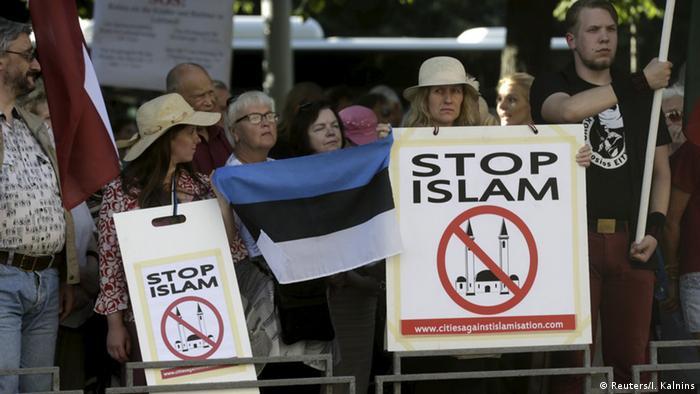 Anti-Islam protesters in Latvia