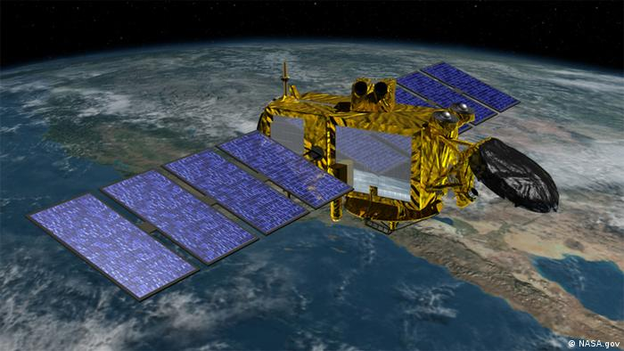 A graphic image of the Jason-3 satellite above earth