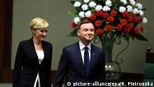 President-elect Andrzej Duda (R) with his wife Agata Kornhauser-Duda (L) EPA/RADEK PIETRUSZKA POLAND OUT