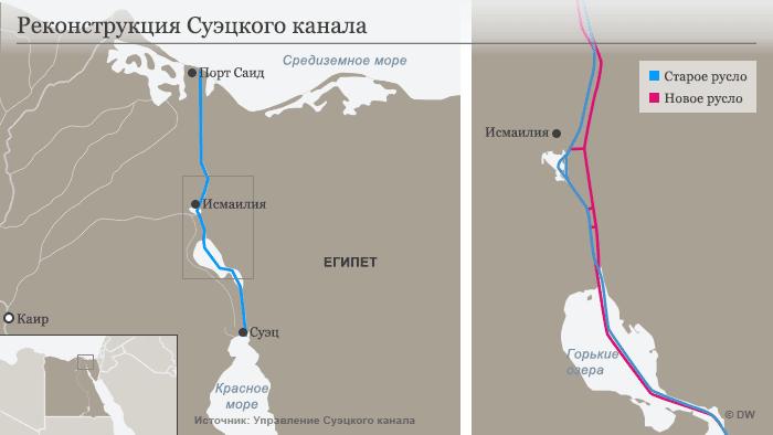 Карта нового Суэцкого канала