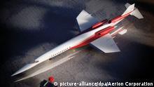 HANDOUT - ILLUSTRATION - Die Airbus Group beteiligt sich an der Entwicklung eines Überschall-Flugzeugs (Foto undatiert). Dafür will der Konzern mit der US-amerikanischen Aerion Corporation zusammenarbeiten. Die Amerikaner arbeiten schon seit Jahren an dem anspruchsvollen Projekt des Fliegers, der die Bezeichnung Aerion AS2 trägt. Bis 2021 soll das Flugzeug zertifiziert werden. Als Ziel für einen Erstflug geben die neuen Partner noch vorsichtig «einen Zeitraum bis 2019» an. Foto: Aerion Corporation/dpa (zu dpa-Korr. Zurück im Überschall? - Airbus steigt bei zivilem Projekt ein am 23.09.2014 (ACHTUNG: Nur zur redaktionellen Verwendung im Zusammenhang mit der aktuellen Berichterstattung und nur bei Nennung: Foto: Aerion Corporation) +++(c) dpa - Bildfunk+++