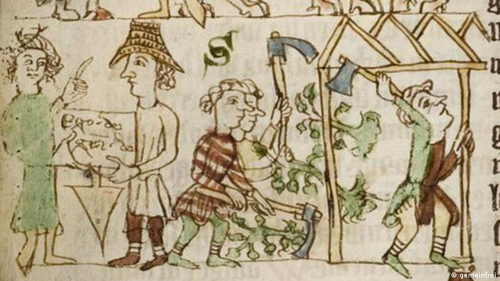 Handwerker im Mittelalter, Bild aus dem Sachsenspiegel, 14. Jahrhundert