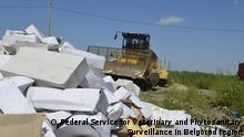 An employee operates a bulldozer while destroying illegally imported food falling under restrictions in Belgorod region, Russia, August 6, 2015 in this handout photo provided by Federal Service for Veterinary and Phytosanitary Surveillance in Belgorod. Russian government plans for mass destruction of banned Western food imports have provoked outrage in a country where poverty rates are soaring and memories remain of famine during Soviet times. REUTERS/Federal Service for Veterinary and Phytosanitary Surveillance in Belgorod region/Handout via Reuters ATTENTION EDITORS - THIS PICTURE WAS PROVIDED BY A THIRD PARTY. REUTERS IS UNABLE TO INDEPENDENTLY VERIFY THE AUTHENTICITY, CONTENT, LOCATION OR DATE OF THIS IMAGE. FOR EDITORIAL USE ONLY. NOT FOR SALE FOR MARKETING OR ADVERTISING CAMPAIGNS. THIS PICTURE IS DISTRIBUTED EXACTLY AS RECEIVED BY REUTERS, AS A SERVICE TO CLIENTS.
