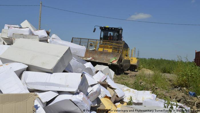 Уничтожение санкционных продуктов в России (фото из архива)