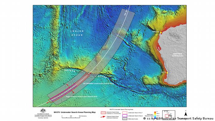 A map of the updated search zone for the MH370.