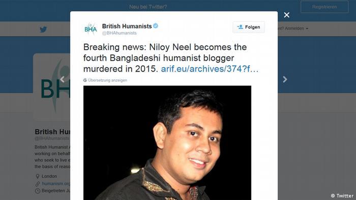 Niloy Neel Screenshot Twitter Blogger Mord Bangladesch