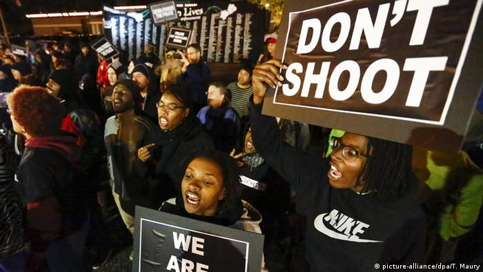 People protesting in Ferguson
