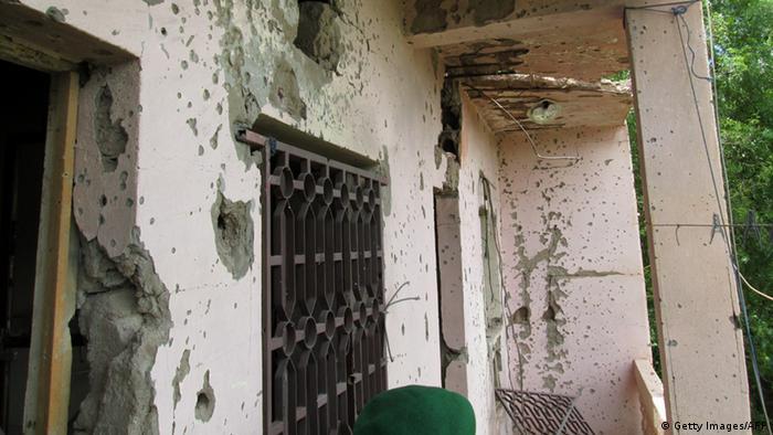 Сліди від куль на будівлі готелю Byblos у місті Севаре