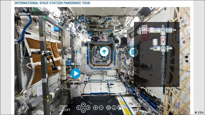 Panorama virtual interativo do interior da ISS