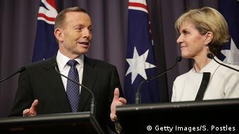 Australian Prime Minister Tony Abbott announcing climate pledges