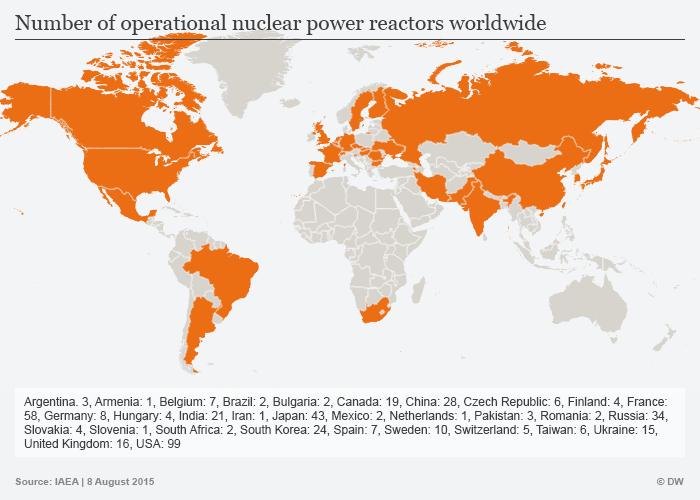 Infografik Kernreaktoren weltweit Englisch