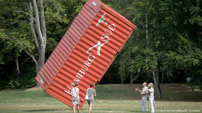 A shipping container installed as a sculpture in a park in Hessen, Germany