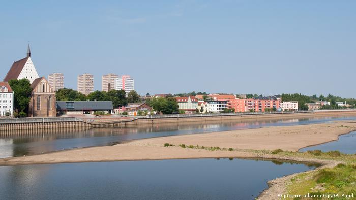 Обмелевшая река рядом с Франкфуртом-на-Одере
