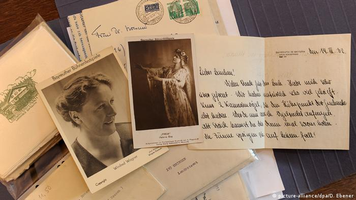 Handwritten letters and photographs on display at the Villa Wahnfried Richard Wagner Museum in Bayareuth