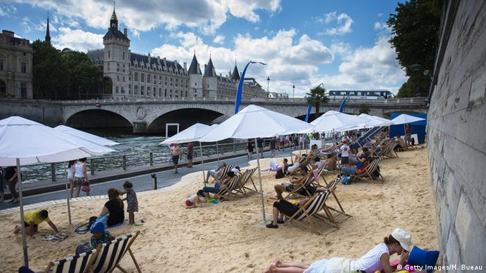 Paris Seine Strand Sand künstlicher Strand Paris Plages