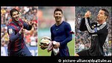 Luis Suarez, Lionel Messi und Cristiano Ronaldo (Bildcombo)