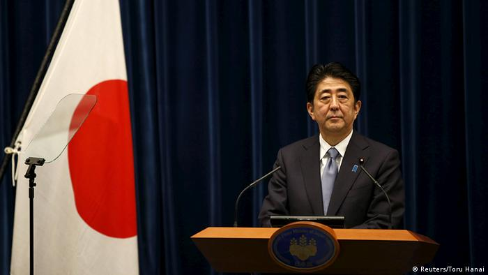 Japan's Prime Minister Shinzo Abe attends a news conference for delivering a statement marking the 70th anniversary of World War Two's end