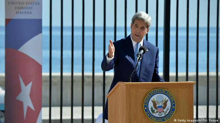 US Secretary of State John Kerry delivers a speech at the US Embassy in Havana ADALBERTO ROQUE/AFP/Getty Images