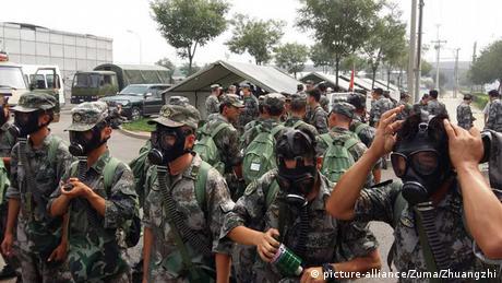 Tianjin China Explosion Hafen Feuerwehr Rettungsarbeiten Gasmasken