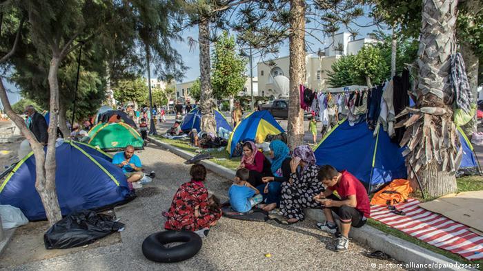 Kos Küste Strandpromenade Flüchtlinge Zelte