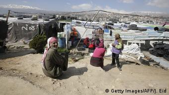 Syrian refugees at a camp in the Bekaa Valley