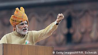 Indian Prime Minister Narendra Modi gestures as he delivers his Independence Day speech from The Red Fort in New Delhi on August 15, 2015 (Photo: ROBERTO SCHMIDT/AFP/Getty Images)