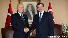 Türkei Koalitionsgespräche Devlet Bahceli und Ahmet Davutoglu
