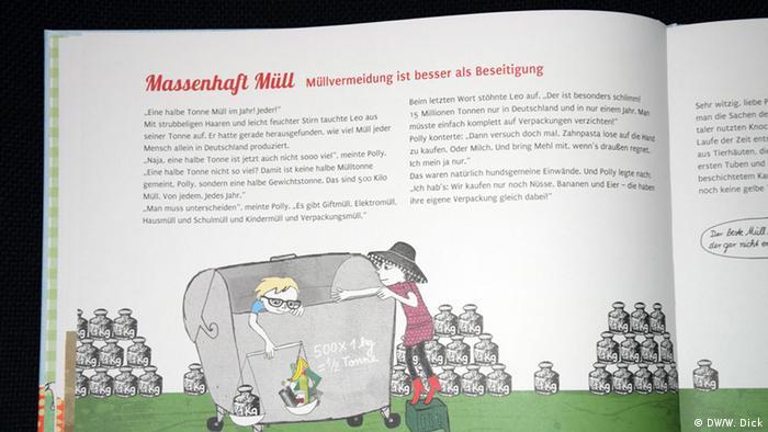 Eine Märchenbuchseite zeigt zwei Freundinnen beim Recycling - Das Kinderbuch wurde vom Umweltbundesamt verlegt. (Foto: DW/W. Dick).