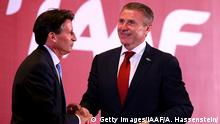 19.08.2015+++ BEIJING, CHINA - AUGUST 19: Lord Sebastian Coe is congratulated by Sergey Bubka after Coe is elected as the new President of the IAAF during the 50th IAAF Congress at the China National Convention Centre, CNCC on August 19, 2015 in Beijing, China. (Photo by Alexander Hassenstein/Getty Images for IAAF)