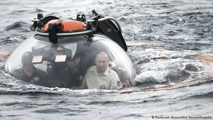 Russian President Vladimir Putin is seen inside a research bathyscaphe