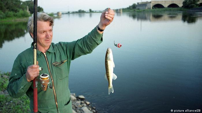 Deutschland Angler an der Elbe