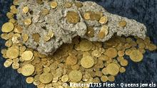 Over 350 gold coins from a sunken Spanish Treasure are seen in an undated handout picture courtesy of 1715 Fleet - Queens Jewels. Florida treasure hunters found the trove of $4.5 million worth of Spanish gold coins 300 years to the day after a fleet of ships sunk in a hurricane while en route from Havana to Spain, the salvage owner said August 19, 2015. The 350 coins found on July 30 include nine rare pieces, known as royal eight escudos, which were being transported to the King of Spain, according to Brent Brisben. His company, 1715 Fleet – Queens Jewels, owns the rights to the wreckage. REUTERS/1715 Fleet - Queens Jewels, LLC/Handout via Reuters ATTENTION EDITORS - THIS PICTURE WAS PROVIDED BY A THIRD PARTY. THIS PICTURE IS DISTRIBUTED EXACTLY AS RECEIVED BY REUTERS, AS A SERVICE TO CLIENTS. REUTERS IS UNABLE TO INDEPENDENTLY VERIFY THE AUTHENTICITY, CONTENT, LOCATION OR DATE OF THIS IMAGE. FOR EDITORIAL USE ONLY. NOT FOR SALE FOR MARKETING OR ADVERTISING CAMPAIGNS. NO SALES. NO ARCHIVES.