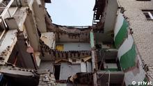 Zerstörtes Haus in Slowjansk, in dem die Familie Gontar vor den Kämpfen gewohnt hatte; Copyright: privat