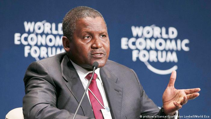 Aliko Dangote at the World Economic Forum in Davos, Switzerland. Photo: EPA/BENEDIKT VON LOEBELL