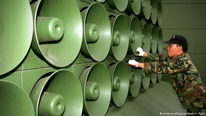 Lautsprecher Südkorea Grenze DMZ Paju Soldat