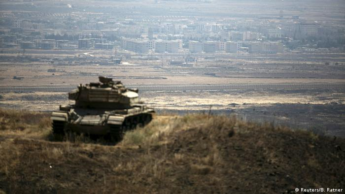Israeli tank on the Golan Heights at the Syrian border