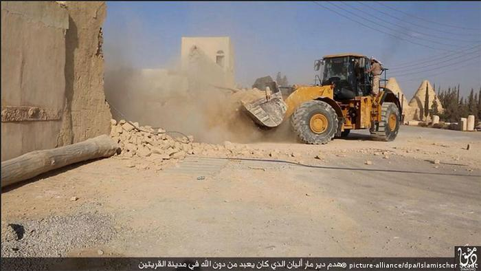 Islamic State posted a photo online purporting to show the destruction of the Mar Elian monastery.