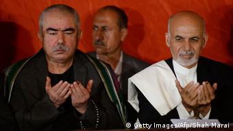 Dostum with Afghan President Ashraf Ghani (Photo: SHAH MARAI/AFP/Getty Images)