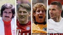 Bild-Combo Gerd Müller, Schweinsteiger, Toni Schumacher und Lokas Podolski