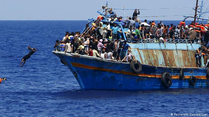 Refugee boat off the coast of Libya