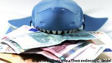 ILLUSTRATION - Ein Hai aus Plastik mit Geldscheinen zwischen den Zähnen, aufgenommen am 30.11.2011 in Berlin.