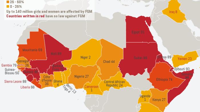 Infografik Life Links Female genital mutilation prevalence map