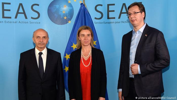 Isa Mustafa, Federica Mogherini i Aleksandar Vučić