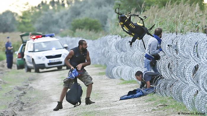 Біженці намагаються пролізти крізь огорожу з дроту на угорсько-сербському кордоні