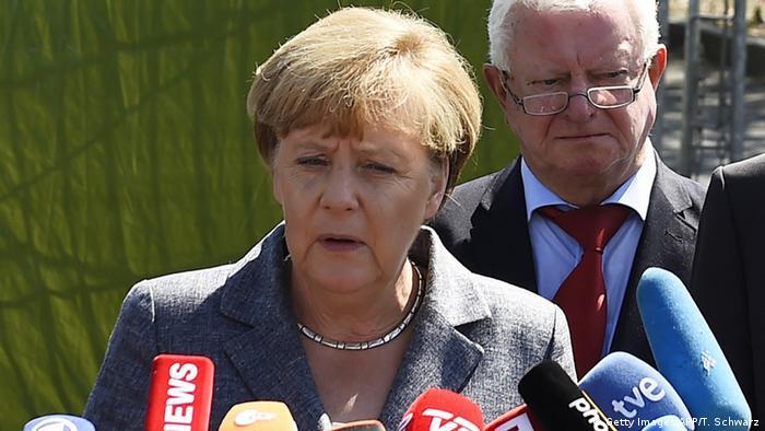 Ангела Меркель в городе Хайденау в Саксонии
