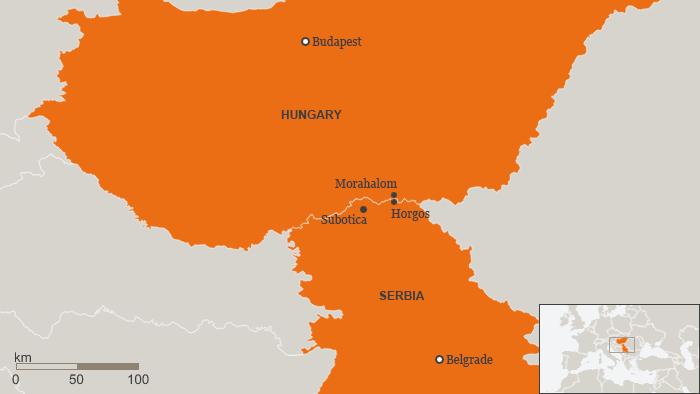 Karte Grenzzaun zwischen Serbien und Ungarn Englisch